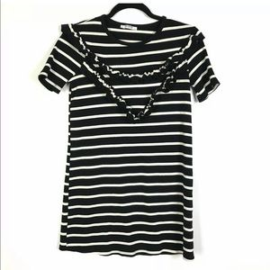 Zara Trafaluc Dress Small Black Cream Striped